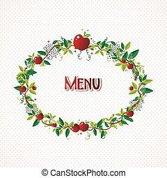 Red apple wreath illustration