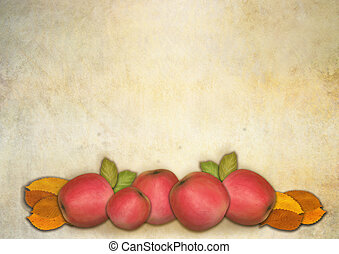 Red apples and autumnleaves on textured background with copyspace