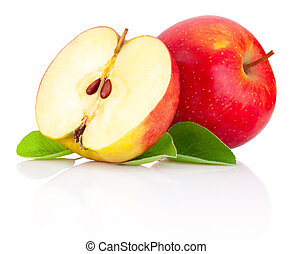 Red apples and half with green leaves isolated on a white background