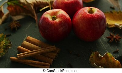 Red apples and spices - Red apples and cinnamon with anise...
