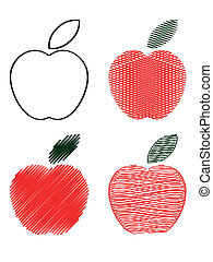 Red apples, icons