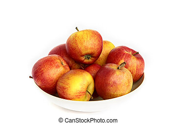 Red apples in a plate