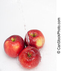 Red apples in water