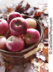 Red apples in wooden basket