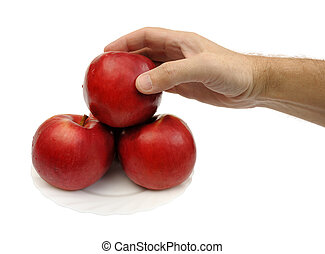 Red apples, isolated