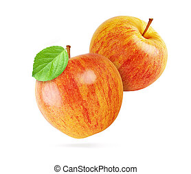red apples isolated with clipping path