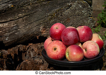 Red apples on a black plate tree stump background