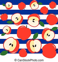 Red apples on a blue and white striped background