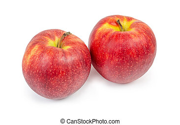 Red apples on a white background