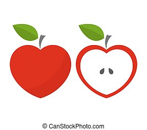 Red apples - Red heart shaped apples. Vector illustration