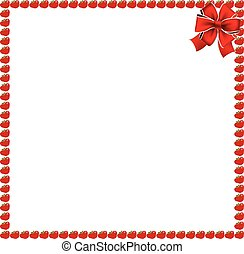 Red apples square photo frame with festive bow
