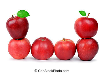 Red apples with green leaf