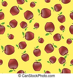 Red Apples with Green Leaves Seamless Pattern