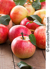 red apples with leafs
