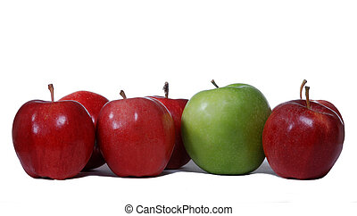 Red apples with one green apple
