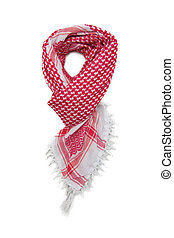 Red arabic scarf isolated on white background