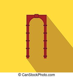Red arch icon, flat style