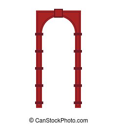 Red arch icon in flat style