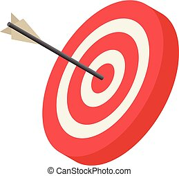 Red archery target icon, isometric style