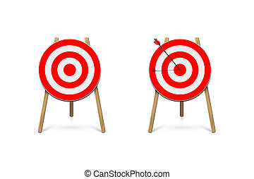 Red archery target stands with arrow. Vector design element.