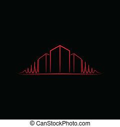 Red architect logo over black