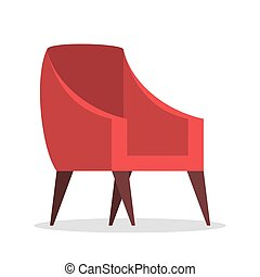 Red armchair. Comfortable furniture, element of modern interior