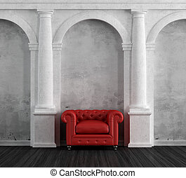 Red armchair in a luxury classic home - Red armchair in a...