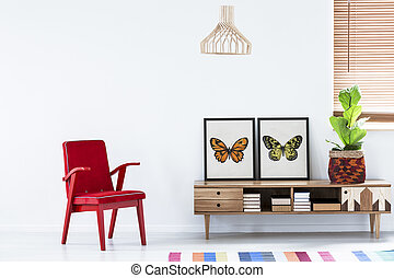 Red armchair in living room