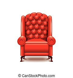 Red armchair isolated on white vector