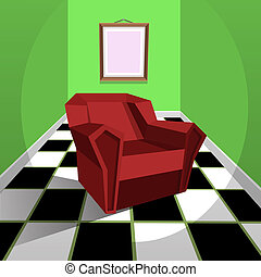 The green room with red armchair, cartoon illustration.