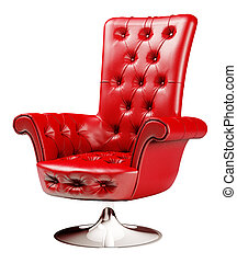 Red armchair with clipping path 3d - Red office chair...