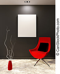 Red armchair with pillow and white blank on the black wall...