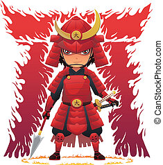 Image of Japanese samurai with armor and weapons. Fiery Japanese letter background. EPS8 vector file.