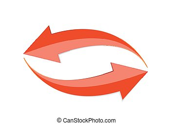Red Arrow 3d  Sign Icon. Vector illustration Isolated on White Background