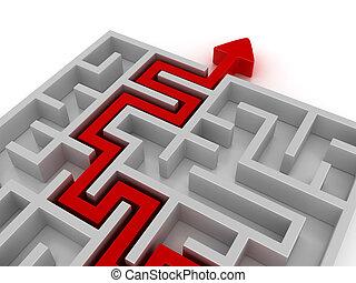 Red Arrow Across the Maze