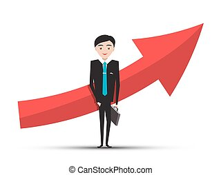 Red Arrow and Businessman in Suit on White Background. Vector.