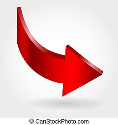 Red down arrow and neutral white background. 3D illustration