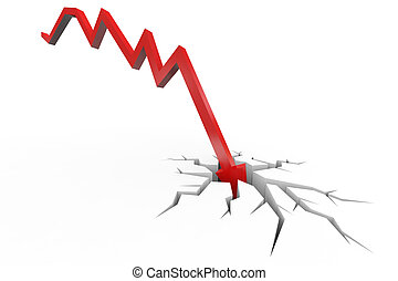 Red arrow breaking floor. Concept of bankruptcy, financial collapse, depression, failure, money crisis.