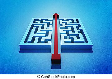Red arrow cutting through maze