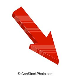 red arrow down design isolated on white background