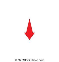 red arrow down icon. decrease, fall, crash concept. download sign.