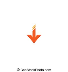 red arrow down icon. download sign. isolated on white.