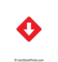 red arrow down in rhomb square. flat icon. download sign. isolated on white.