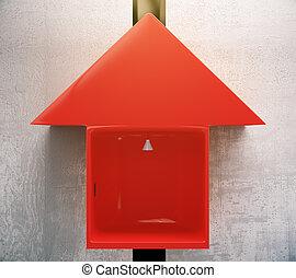Red arrow elevator