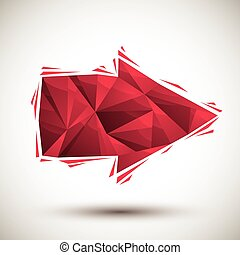 Red arrow geometric icon made in 3d modern style, best for use as symbol or design element.