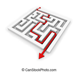 Red arrow going through the maze. Conceptual illustration.