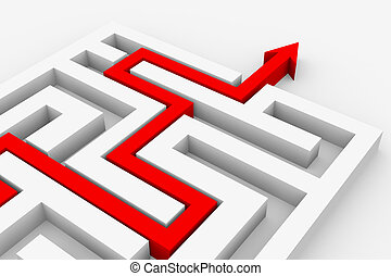 Red arrow going through the maze. Path across labyrinth....
