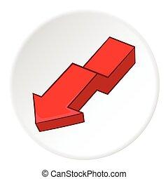 Red arrow icon, cartoon style