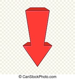 Red arrow icon in cartoon style