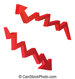 red arrow illustrations for economic concept
